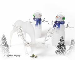 White Christmas (augphoto) Tags: christmas decorations stilllife white holiday animal mammal snowman wildlife deer tabletop knickknack augphotoimagery