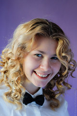 Pretty woman (konrad35) Tags: blue portrait woman girl look shirt eyes head violet bowtie curls curly blonde collar hairstyle preety kundziu