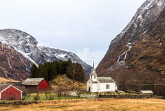 "Very mild winter in Bakka, first village in Nryfjord (part of natural UNESCO world heritage site ""West Norwegian Fjords"")  [Grateful for comments!!] (Maria_Globetrotter) Tags: winter church nature water beautiful by landscape vinter village famous kirche location norwegian national stunning fjord february typical bild picturesque geographic kyrka kirke landskap 2014 sted flott nryfjorden vakkert nryfjord vackert img6764 norskt typiskt"