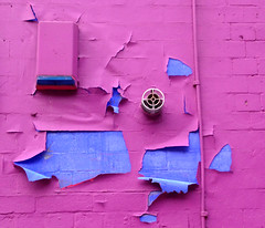 Hidden Feelings (Fragglehound) Tags: pink blue abstract wall peeling paint twitter