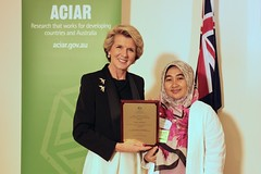 Minister Bishop with Lilis Sadivah (ACIAR Australia) Tags: indonesia web australia canberra bishop fellowships aciar usedonweb johndillonfellows march2014
