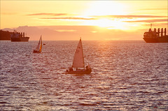 Spring Sunset In Vancouver (Clayton Perry Photoworks) Tags: sunset beach vancouver boats spring bc sail englishbay