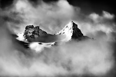 Pinnacle Peak and The Castle (TroyMasonPhotography) Tags: blackandwhite paradise mountrainier mtrainier snowcamping tatoosh thecastle pinnaclepeak deadhorsecreek basicclimbing troymason tacomamountaineers troymasonphotographycom troymasonphotography troytroymasonphotographycom winterovernight