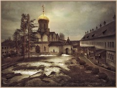 Winter is leaving.(Savvino-Storizhevsky Monastery) (odinvadim) Tags: mytravelgram paintfx textured textures iphone editmaster travel iphoneography sunset evening iphoneonly church painterly artist snapseed landscape photofx specialist iphoneart graphic painterlymobileart