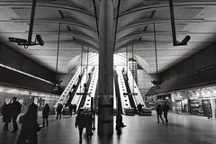 Diminishing Returns (Douguerreotype) Tags: uk gb britain british england london city urban bw blackandwhite mono monochrome underground tube metro subway people transport architecture escalator tunnel