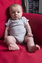 Pondering (evaxebra) Tags: wh wah red couch baby infant ash thinking wondering pondering chubby fat chunky