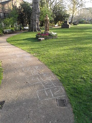 6th April 2017 (themostinept) Tags: chalk hopscotch path grass lawn stgeorgesgardens saintgeorgesgardens bloomsbury london camden kingscross wc1 statue marchmontstreet bend curve trees graveyard cemetery