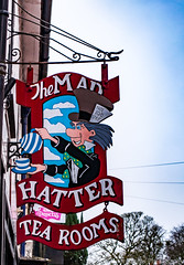 Mad Hatter Tea Room (Peter Phelps Photography) Tags: sign shop hatter mad tea room red white blue