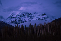 Mount Robson Night (robertdownie) Tags: trees canada sky forest night british clouds rock mountain woods ice cloud columbia misty rockies bc mt robson