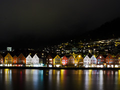 Bergen by Night (creditflats) Tags: unesco worldheritage bergen bryggen night city landscape lights old historic hanseatic warf trade olympus pen ep5 sigma 30mm travel norway longexposure