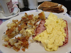 Scrambled eggs and ham steak (Coyoty) Tags: townlinediner rockyhill connecticut ct diner restaurant food scrambled eggs scrambledeggs ham steak hamsteak meat fried potatoes wheat toast bread coffee white brown yellow hashbrowns pork bokeh breakfast pink crust obligatory owf oyt sometimessavory