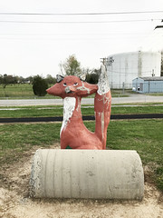 Old concrete fox (plasticfootball) Tags: mcleansboro illinois hamiltoncounty highschool fox mascot concreteanimals