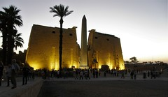 Luxor Temple (Francesco Pesciarelli) Tags: flickr pesha nightshot luxor temple egypt ancienttimes history lights obelisk sky palms trees contrast colors life big downloadable mentionmyname varied collection thoughtful colours