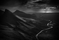 Into the light (Andrew Paul Watson) Tags: quiraing isleofskye black blackandwhite mountain light scotland scottish sunrise tone clouds cloud car andrewpaulwatson andrew paul watson fujifilm fuji xt20
