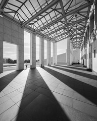 Parliament House (Chimay Bleue) Tags: postmodern modern architecture parliament australia shadow black white bw shadows ombres entrance portico front giurgola design