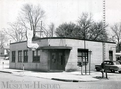 Union Bus Station, 1956 523 N. East Street, Bloomington (McLean County Museum of History) Tags: mcleancountymuseumofhistory mcleancounty bloomingtonillinois union bus automotbiles 1956