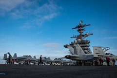 170424-N-VN584-203 (U.S. Pacific Fleet) Tags: usstheodoreroosevelt cvn71 underway alex corona vn584 sailors prepare foreignobjectdebris maintenance flightdeck jets island squadron