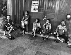 Danger !! Sitting style for Men !! (-Faisal Aljunied - Bye !!) Tags: blackandwhitestreet sittingstyle men streetphotography ricohgr faisalaljunied danger highvoltage t