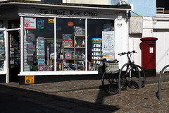 Post Office and bike (threejumps) Tags: shop goods stives cornwall street urban bike bicycle cycling