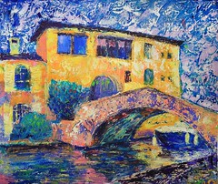 Art painting of Port Grimaud  in France (shadowbilgisayar) Tags: cruise italian wallpaper acrylic town france craft travel fine vivid yellow landmark expressionism impressive port pastel canvas venice drawing paint venetian building abstract canal illustration artwork impressionism architecture city french colorful watercolor sketch picture sky boat house tourism art riviera artistic sea style painter bridge oil europe cityscape sainttropez grimaud
