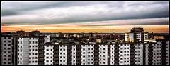 Berlin Gropiusstadt (Krueger_Martin) Tags: sky colorful bunt farbig berlin gropiusstadt gropiushaus skyline horizont fernsehturm architektur architecture hdr photomatix panorama 40mm canoneos7d canonef40mmf28stm city stadt urban festbrennweite primelense sundown sonnenuntergang clouds wolken