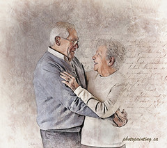 old love (Pixel Pixie Photopainting) Tags: senior elder man woman couple love old lady glasses smile joy fun happy profile embrace aged pension grandfather marriage grandmather caucasian affection relationship husband wife italy