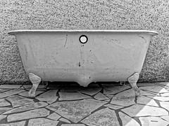 Old tub (DouxVide) Tags: france gx8 mft m43 baignoire bath bain tub fonte cast cartiron émail émaillé enameled white bw noiretblanc blackwhite decoration interior design old antiques 1756