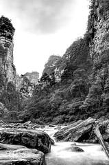 Rugged (Rob McC) Tags: zhangjiajie hunan china bw blackandwhite monochrome landscape rugged stream flow limestone karst