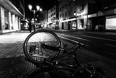 Drunk as Hell ... (Thomas Listl) Tags: thomaslistl blackandwhite noiretblanc biancoenegro street urban bike bicycle night streetlamps würzburg 24mm dark mood