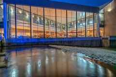 Shot of the Century (tquist24) Tags: centurycenter hdr indiana nikon nikond5300 southbend stjosephriver autoshow bluehour city classiccars geotagged longexposure night reflection reflections river spillway water window windows unitedstates