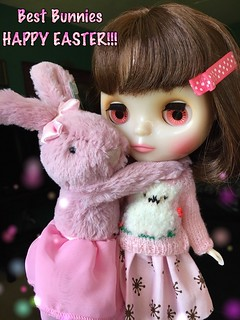 Bunny Love 💕 Best Bunnies, Cheri and Tutu LuLu wish you the HAPPIEST EASTER!! They've eaten plenty of chocolate eggs this morning. Cheri Babette wears doodoo corner alpaca sweater and painterslife skirt. Jellycat bunny.