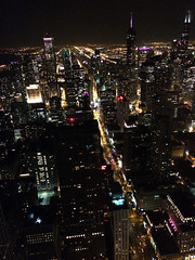 94th floor view of city skyscrapers in Chicago (Aqua and Coral Imagery) Tags: chicago city night lights inspo downtown above skyscraper skyscrapers landscape architecture building colors colorful streets view scenery dusk