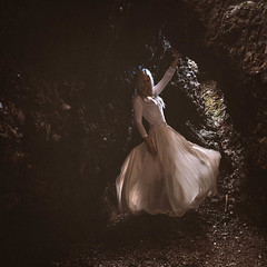 Caves (Manadh) Tags: northernireland cushendun landscape caves sea pentax k3 sigma 1835mm portrait conceptual dark darkart whitehair whitedress alone