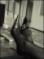 High heels on the table (Leguman vs the Blender) Tags: heels bw