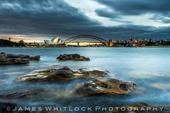 Blue Sydney (James Whitlock Photography) Tags: australia nsw new south wales sydney capital opera house harbour bridge mrs macquaries chair sun sunset blue hour waves rocks long exposure nikon d810 lee filters gitzo