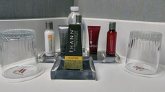 Toiletries at the Marriott Burlington (Evan Didier) Tags: hotel marriott burlington massachusetts room kingbedroom bathroom toiletries soap soapdish drinkingglass glasses shampoo conditioner moisturizer bodylotion water thane