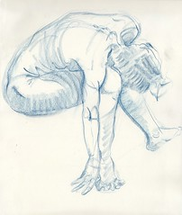 Kimiko, 10 minutes (thyyythiii) Tags: polychromos figuredrawing lifemodel atelier pencil blue nude drawing lifedrawing