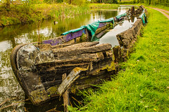 A Permanent Mooring .....But Has Problems With Damp (williamrandle) Tags: stourbridgebirminghamcanal canal waterways worcestershire uk england spring narrowboat wreck sunkenboat water towpath nikon d7100 tamron2470f28vc landscape outdoor texture stourton stourbridge