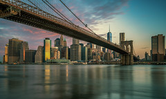 New York skyline (urbanexpl0rer) Tags: newyorkcity newyork manhattan brooklynbridge skyline skyscrapers buildings offices financialdistrict longexposure morning