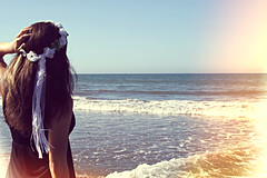 In the distance (~Natalie Hope~) Tags: ocean sea beach water girl beautiful sand longhair brownhair flowercrown