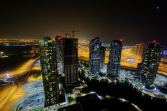 Skyscrapers Dubai (Gareth Wray Photography -Thanks = 2 Million Hits) Tags: street city travel roof light vacation moon holiday streets tourism night buildings lens landscape photography lights hotel persian amazing nikon europe long exposure neon dubai apartments cityscape photographer gulf view angle uni