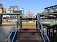 Citi Field, 05/16/13: view from the visitors' dugout (IMG_0893) (Gary Dunaier) Tags: newyorkcity baseball stadiums queens mets queensborough newyorkmets queensboro ballparks flushing stadia queenscounty citifield