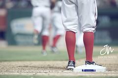 Kinsler Socks - Texas Rangers - Opening Day (jasonw8photo) Tags: sports socks vintage nikon uniform texas baseball rangers openingday mlb 300mm28 iankinsler d700 rangersballpark dallassportsphotographer jasonwaitephotography texasrangersphotographer arlingtontxsportsphotographer