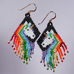 Rainbow unicorn fringe earrings (messaroo) Tags: handmade jewelry earrings seedbeads handmadejewelry beadweaving handmadeearrings unicornearrings brickstitch nomadicnotions rainbowearrings fringeearrings seedbeadearrings