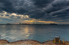 (ed lau photography) Tags: ocean blue sunset sea sky orange cloud canada storm water ferry clouds boat tsawwassen
