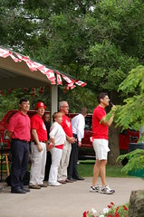 Michael takes in the Canada Day crowd in Glen Williams, alongside (L-R) Halton Hills Mayor Rick Bonnette, Councillors Joan Robson and Bryan Lewis, MPP Ted Arnott, and Trustee Mark Rowe (foreground)