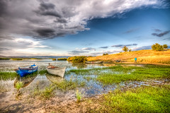 Colorful lake (Nejdet Duzen) Tags: trip travel cloud lake reflection field turkey boat fishing trkiye sandal bulut gl yansma turkei tarla seyahat manisa balklk glmarmara