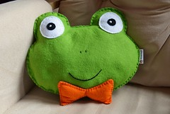 Harry the Frog Hand Embroidered Felt Cushion (Pixiecraft Handmade) Tags: uk original orange cute green animal animals design hand handmade adorable bowtie felt frog plush clothes pillow cushion stitched embroidered pixiecraft