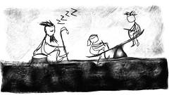 sleepygrampa and kids (chief.draw) Tags: park boy girl kids play sleep grandfather seesaw sleepy