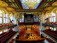 Palau de la Msica Catalana - Barcelona (Cloudwhisperer67) Tags: world barcelona city trip travel roof light red urban sculpture music orange building art heritage love glass yellow wall by architecture painting de landscape photography la site amazing concert spain ceramics flickr cityscape colours with artistic interior stage great central arts skylight piano award palace unesco explore espana filled organ lovely nouveau jewels scape msica palau masterpiece colonnade glazed catalana decorated ornamentation llus montaner catal distinctive catalogne floralpattern domnech orfe 2013 hx9v cloudwhisperer67